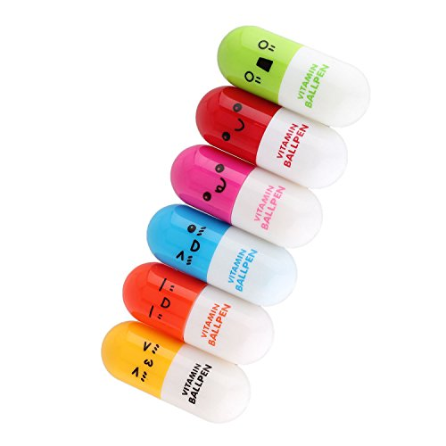 pinzhi-6pcs-stylo-a-bille-bic-retractable-pilule-mignon-multi-couleur