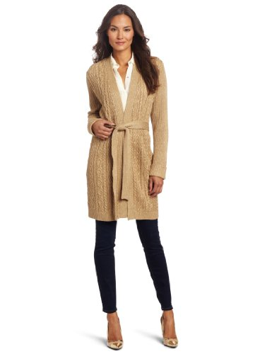 Jones New York Women's Plus-Size Long Sleeve V-Neck Belted Cardigan, Gold Sand, 2X
