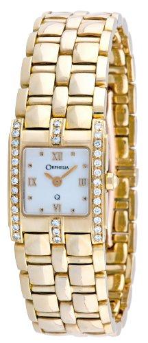 Orphelia-Mon-7032-Montre-Femme-Or-18-Carats-Diamants-039-Cts-Quartz-Analogique-Cadran-Blanc-Bracelet-Or-Jaune-18-Carats
