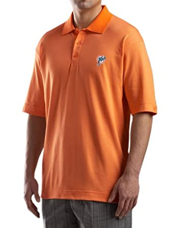 NFL Miami Dolphins Mens DryTec Resolute Polo Knit Short Sleeve Top by Cutter & Buck