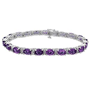Sterling Silver Oval Cut Amethyst with Genuine White Diamonds Bracelet, 7.25