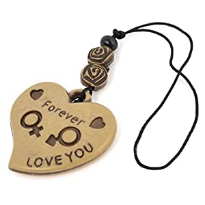 Brown Wooden Carved Letter Heart Shaped Pendant Phone MP3 Straps Decor
