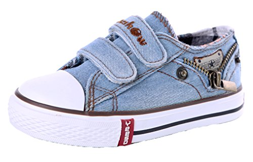 Legend E.C Boys' And Girls' Lesliee Low Top Denim Sneakers Magic Stick Breathable Skateboard Shoes (8.5, Light Blue)