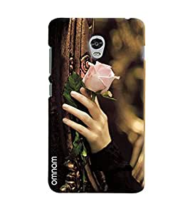 Omnam Girl Carrying Beaurtiful Pink Rose In Hand Printed Designer Back Cover Case For Lenovo Vibe P1