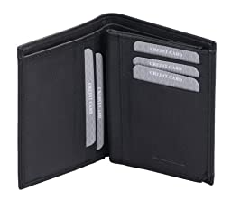 Avanco Men's Leather ID Card Holder 5.1 x 3.9 x 0.6 inch Black