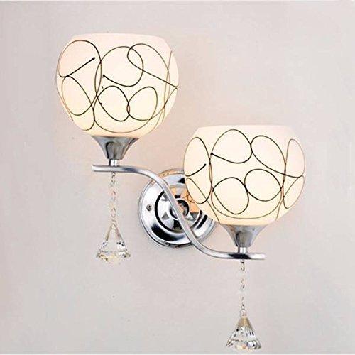 SOLMORE Nuovo Doppio applique da parete teste moderno lampada da parete cristallo E27 lampada da comodino per Camera da letto, Sala, Salotto