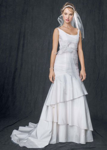 SAMPLE: Taffeta Scoop Neck Ruched Bridal Wedding Dress with Tiering Style...