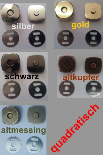 Magnetverschluss, Magnetknöpfe 18 mm Durchmesser, quadratisch, 10 Stück / Farbe: #16 gold