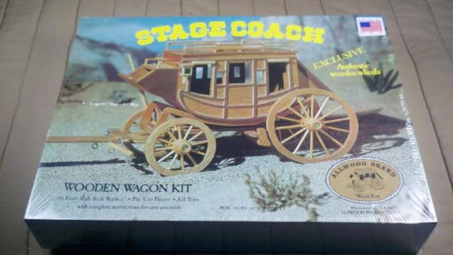 VINTAGE 1977 ALLWOOD 1/16 STAGE COACH WOODEN WAGON MODEL KIT #5013 WILD WILD WEST (Stagecoach Model Kit compare prices)