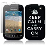 BlackBerry Curve 9380 Black/White Keep Calm & Carry On Lasered Silicone Skin Case / Cover / Shell + Screen Protector PART OF THE QUBITS ACCESSORIES RANGEby Qubits