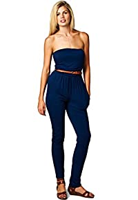 LeggingsQueen Women's Tube Modal Jumpsuit with belt