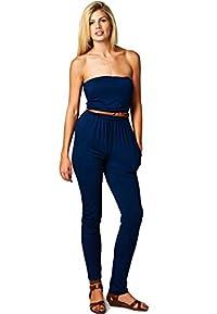 LeggingsQueen Women's Tube Modal Jumpsuit with belt