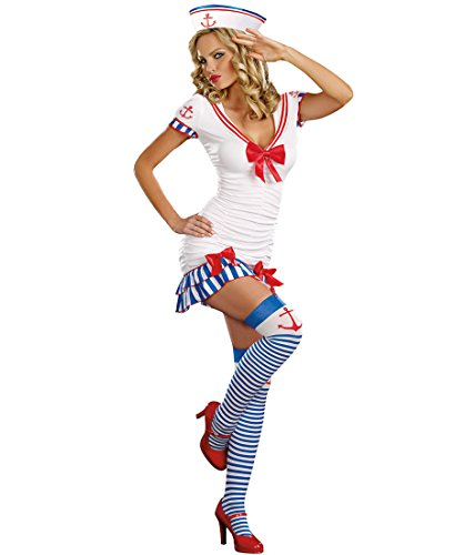 [Dreamgirl 8818 Sailor Pinup Costume - X-Large - White/Red/Blue] (Pin Up Girl Costume Halloween)