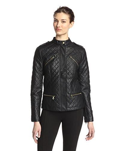 Happy Goat Lucky Women's Hannah Faux Leather Jacket  [Black]