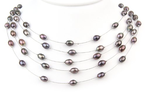 Willow Pearls Melody 5 Strand Black Tahitian Freshwater Pearl Sterling Silver Necklace