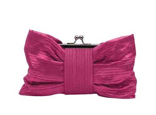 Fuschia pink satin bow-style clutch handbag finely pleated bow with kiss lock closure by Olga Berg