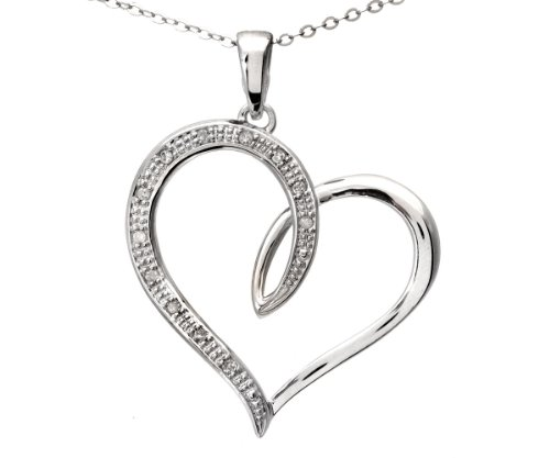 9ct White Gold Diamond Heart Pendant + 46cm Trace Chain