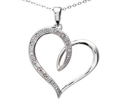 9ct White Gold Diamond Heart Pendant + 46cm Trace