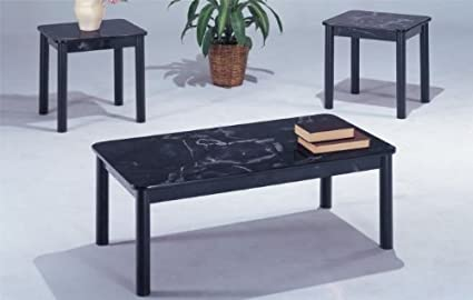 3-pc Beautiful Design Coffee Table Set in Black/white Finish PDS F30060