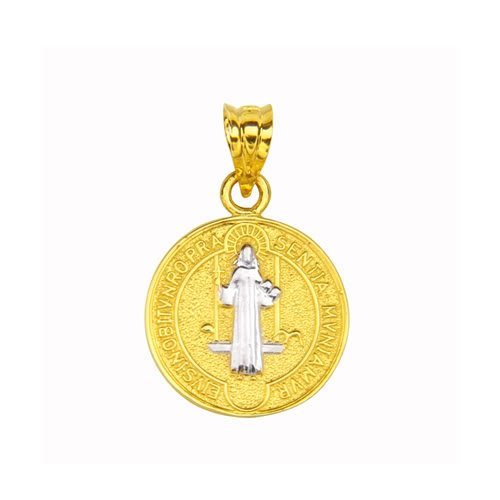 14K Yellow and White 2 Two Tone Gold Small Religious Charm Pendant