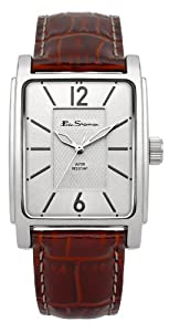Ben Sherman Men's Quartz Watch with Silver Dial Analogue Display and Brown PU Strap BS037