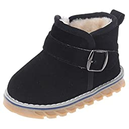 Femizee Newborn Toddler Baby Boy Girl Suede Leather Warm Fur Winter Snow Boot Infant Velcro First Walking Shoes,Black,3 M US Toddler