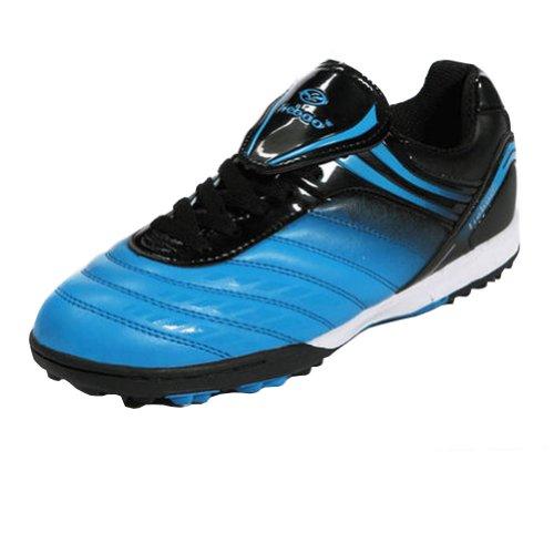 Tiebao Boys' Hard Ground Indoor Speed Blue Patent Leather Fo