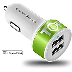 TopG - Lifetime Warranty - Dual USB Ports 3.1A Portable USB Car Charger for iPhone 5 5S 5C 4 4S,iPad 4 3 2,iPad mini,iPad air Battery Power Supply for All Apple Device (Lightning Cable/Adapter Not Included)- (White+Neon Yellow)