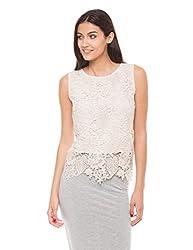 Shuffle Women's Lace Shirt (1021508001_Ecru_Medium)
