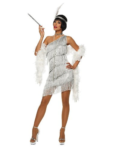 Dazzling Silver Flapper Women's Sexy Costume