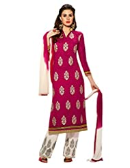 Inddus Women Violet And White Embroidered Unstiched Dress Material