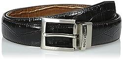 Stacy Adams Men's 30mm Croco Embossed Genuine Leather With Twist Reversible Belt, Black/Cognac, 46
