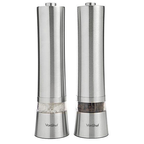 Vonshef 2 X Electronic Salt & Pepper Mill Grinder - Stainless Steel