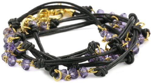 Accessories & Beyond Black Leather Wrap-Around Bracelet