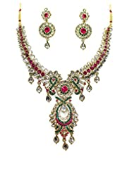 Beautiful Designer Bollywood Pattern Kundan Necklace Set By Zaveri Pearls