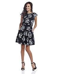 Prym Women's Printed Smocked Waist Dress (1011507804_Navy Mix_X-Large)