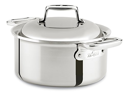 All-Clad SD7530356 D7 18/10 Stainless Steel 7-Ply Bonded Construction Dishwasher Safe Oven Safe Round Oven Dutch Oven, 3.5-Quart, Silver (All Clad Dutch Oven Nonstick compare prices)