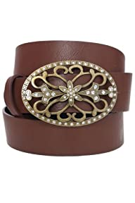 Yoursclothing Womens Filigree Stone Buckle Jean Belt