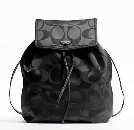 Coach Signature Nylon Backpack Handbag Purse Black