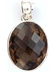 Exotic India Faceted Smoky Quartz Pendant - Sterling Silver - B006ZNGWHQ