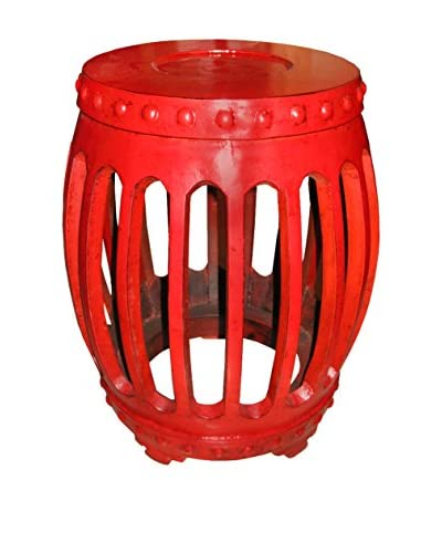 Hand-Carved Lacquered Walnut Drum Stool, Red