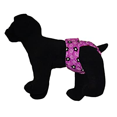 Barkerwear Dog Diaper - Cherry Blossom on Purple Washable Cover-up / Diaper for Incontinence, Housetraining and Dogs in Heat