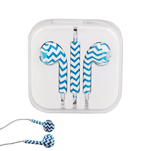 Vamvaz Blue Waves 3.5Mm Stereo Earphone Headset Earbuds Inear Volume Control Remote Mic For Apple Iphone Ipod Ipad