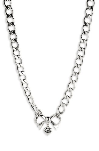 Juicy Couture Heart Bow Starter Charm Necklace - Silver