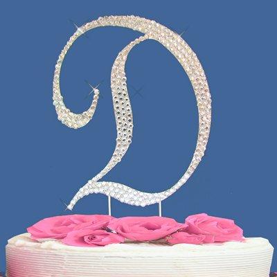 Fully Covered in Crystal Monogram Wedding Cake Topper Letter - Letter D