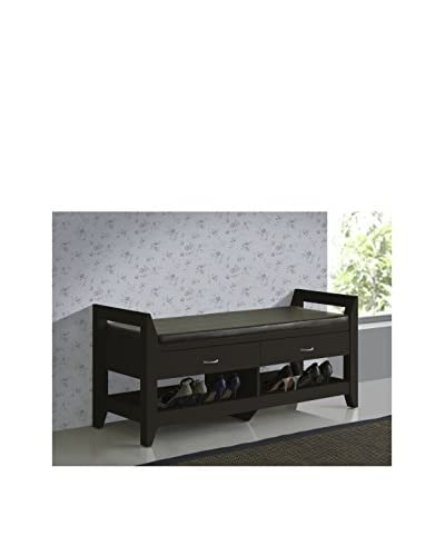 Baxton Studio Maurine Modern Padded Leatherette Bench, Dark Brown