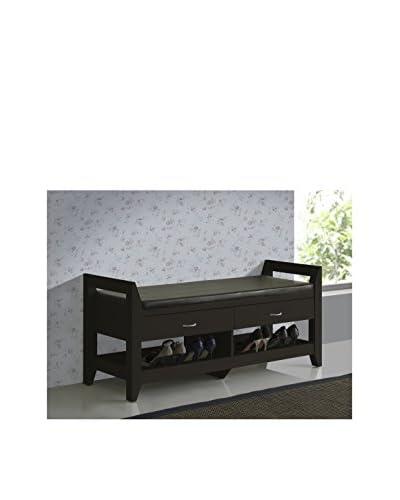 Baxton Studio Maurine Modern Padded Leatherette Bench, Dark Brown