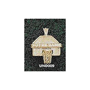 Notre Dame Fighting Irish Notre Dame Basketball Backboard Pendant - 14KT Gold Jewelry by Logo Art