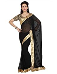 Designersareez Women Black Faux Georgette Saree With Unstitched Blouse (1619)