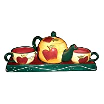 Apple 4pc Teaset With Tray